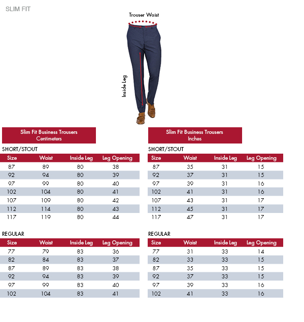 Slim Fit Business Trousers Centimeters