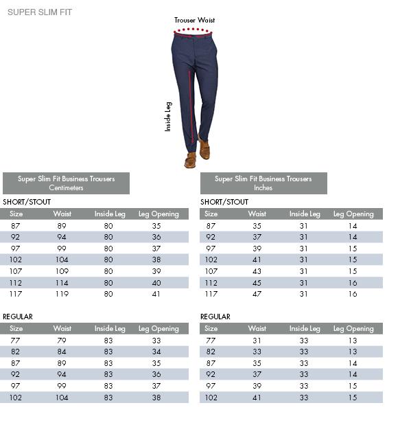 Super Slim Fit Business Trousers Centimeters