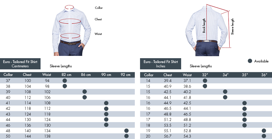 Euro Tailored Fit Shirt Centimetres