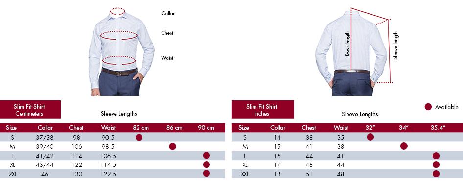 Slim Fit Shirt Centimetres